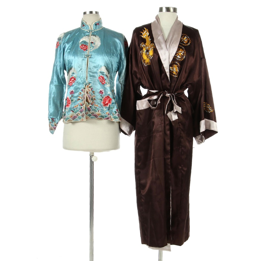 Chinese Embroidered Jacket and Reversible Robe