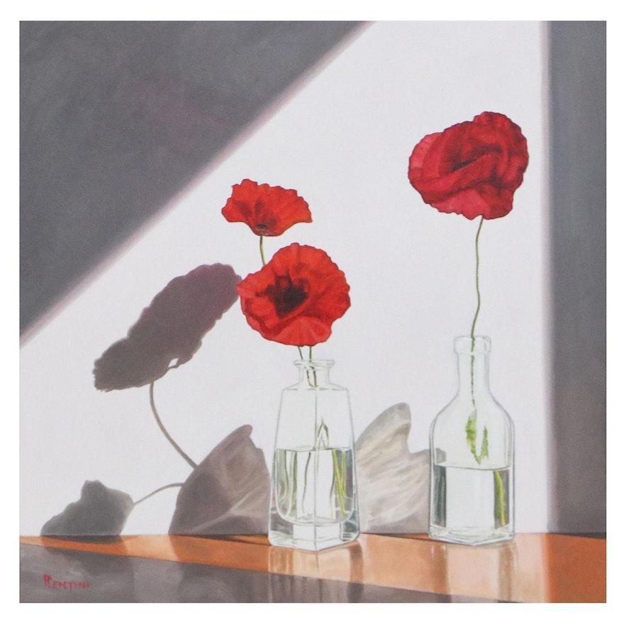"Peter Lentini Still Life Oil Painting ""Murmur,"" 21st Century"
