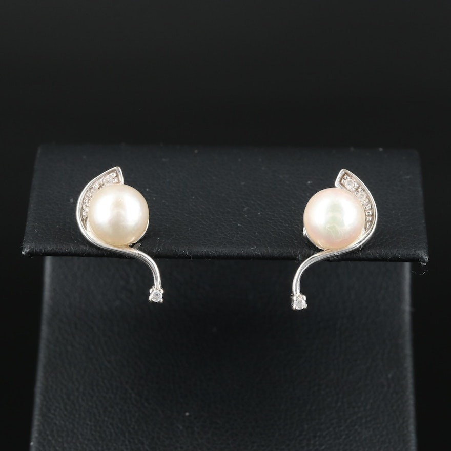 Italian 18K Pearl Stud Earrings with Cubic Zirconia Accents