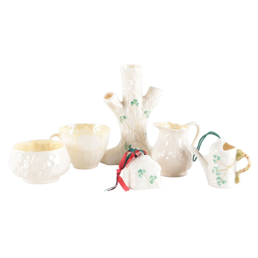 Belleek Bone China Spill Vase, Miniature House, Pitchers, Cup, and Trinket Bowl