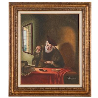 "Oil Painting After Salomon Koninck ""The Gold-Weigher,"" Circa 2000"