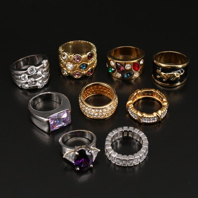 Cigar Band, Multi-Row, and Eternity Rings Including Cubic Zirconia and Enamel
