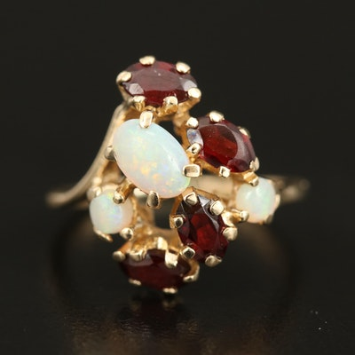 14K Opal and Garnet Cluster Ring