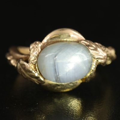 Antique 14K Star Sapphire Ring with Braid and Leaf Crossover Band