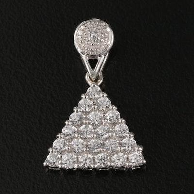 Sterling Zircon Triangle Cluster Pendant