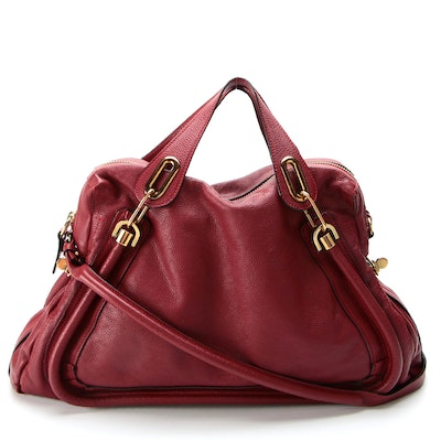 Chloé Paraty Large Top Handle Bag in Red Pebble Grain Leather