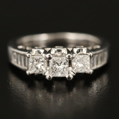 14K 1.00 CTW Diamond Ring with Open Gallery and Channel Shoulders
