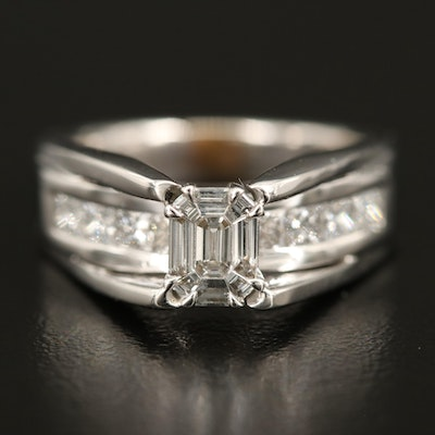 14K  Diamond Ring with Channel Set Shoulders and European Shank
