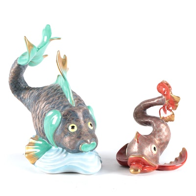 """Herend """"Koi Fish"""" Turquoise and Red Bronzed Porcelain Figurines"""