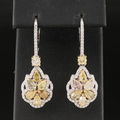 18K 3.69 CTW Diamond Drop Earrings with GIA Report