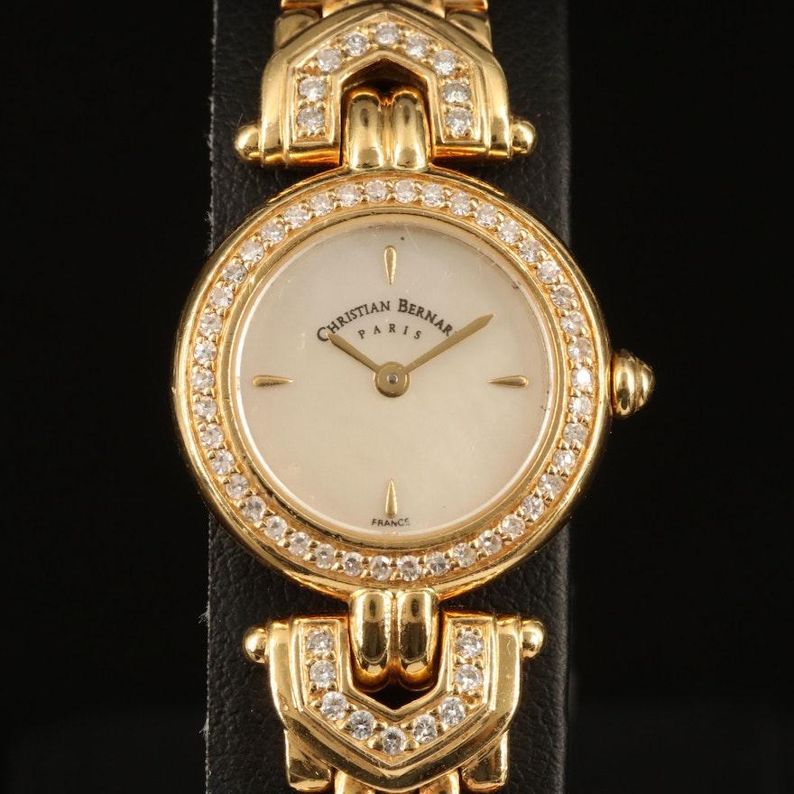Christian Bernard 18K Diamond Quartz Wristwatch