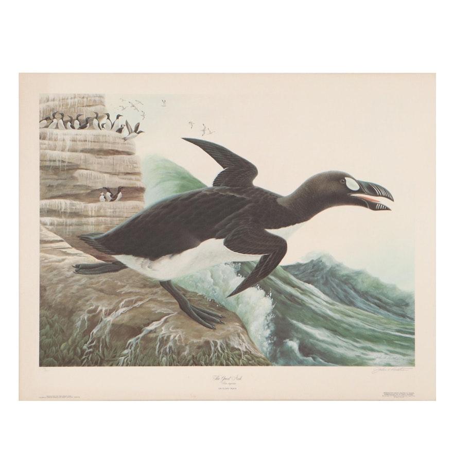 """John A. Ruthven Offset Lithograph """"The Great Auk,"""" Circa 1970"""