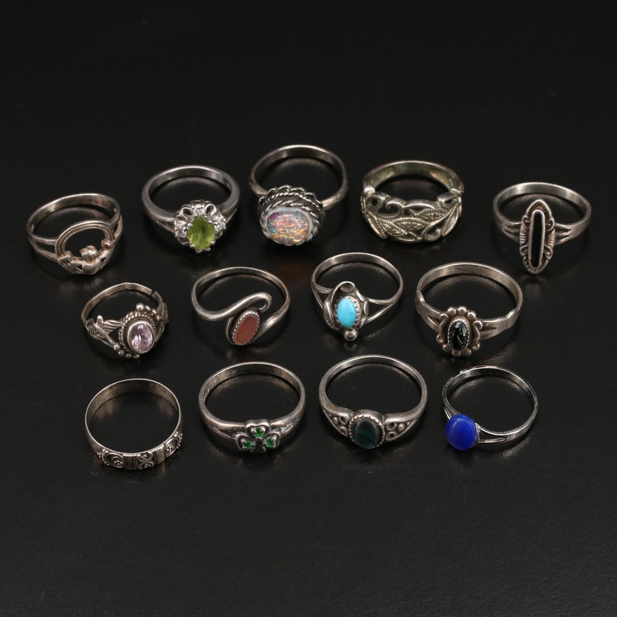 Rings with Claddagh, Sterling, Abalone and Peridot
