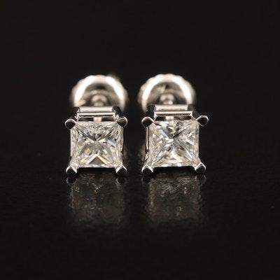 14K 1.06 CTW Princess Cut Diamond Stud Earrings