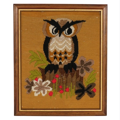 Handcrafted Needlepoint Panel of an Owl, Mid to Late 20th Century