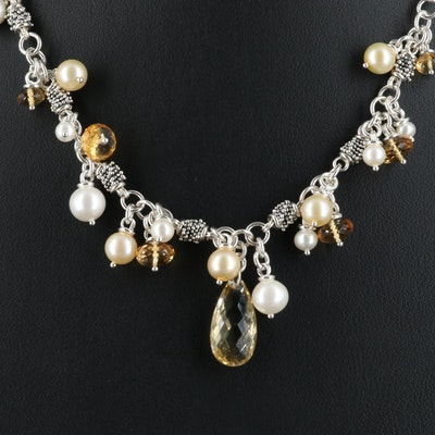 Michael Dawkins Sterling Necklace with Pearl and Citrine