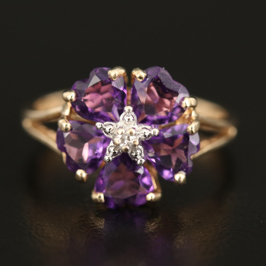 10K 2.50 CT Amethyst and Diamond Floral Ring