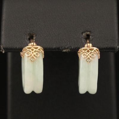 Chinese 14K Grooved Jadeite Hoop Earrings