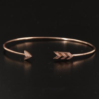 14K Rose Gold Diamond Arrow Cuff