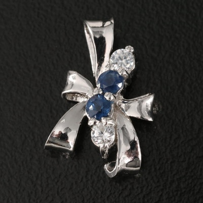 Sterling Silver Sapphire and Zircon Ribbon Pendant