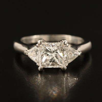 Platinum Diamond Ring with 1.61 CT Center and 0.61 CTW Sides