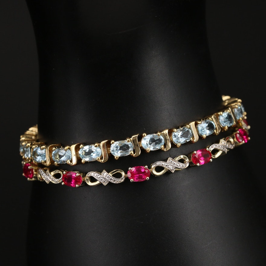 Sterling Sky Blue Topaz, Ruby and Diamond Bracelets