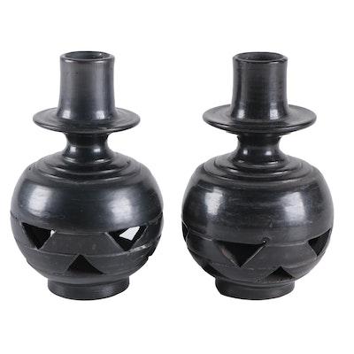 Pair of Lama Oaxaca Pierced Earthenware Candlesticks