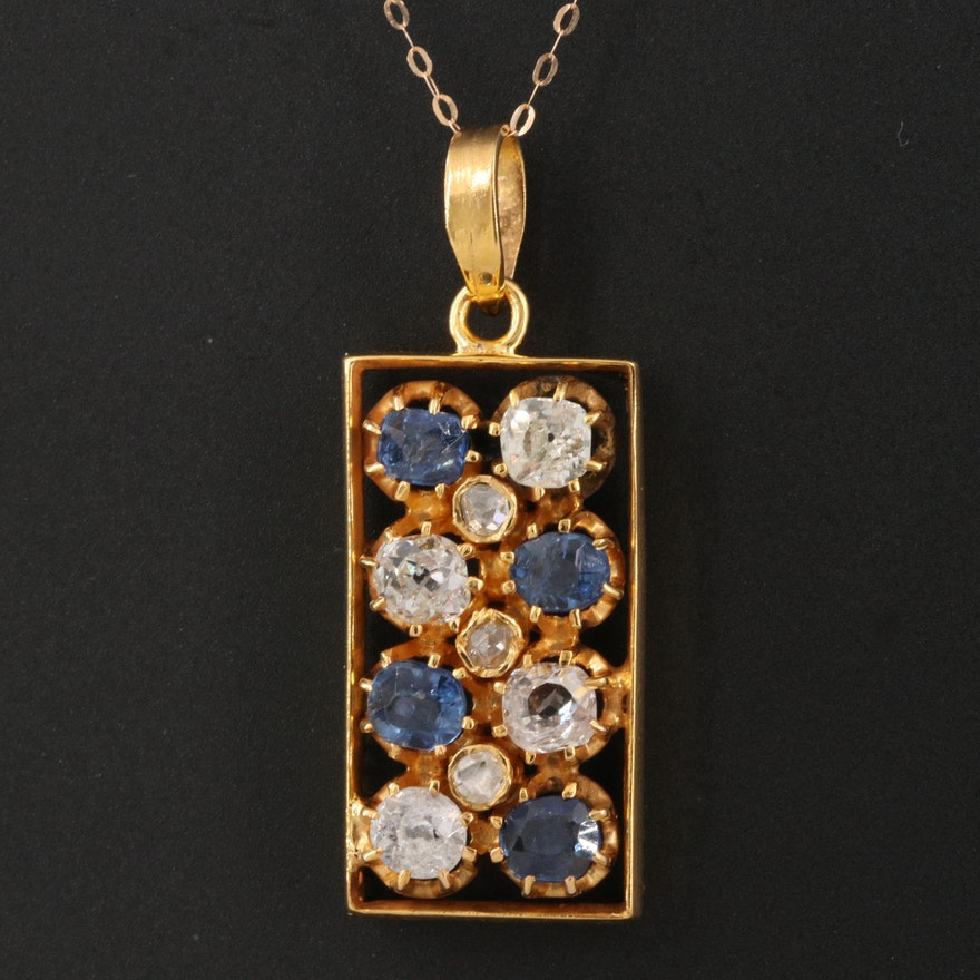 14K 0.75 CTW Diamond and Sapphire Pendant on 18K Chain Necklace