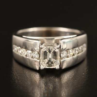 14K 1.01 CT Diamond Ring with Channel Set 0.75 CTW Diamond Shoulders