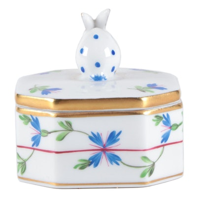 """Herend """"Blue Garland"""" Porcelain Octagonal Box with Bunny"""