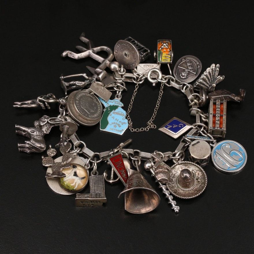 Vintage Sterling Charm Bracelet Featuring Reverse Painted Terrier Charm