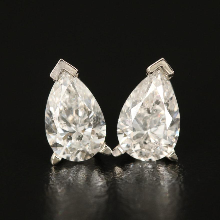 14K 2.08 CTW Diamond Teardrop Stud Earrings