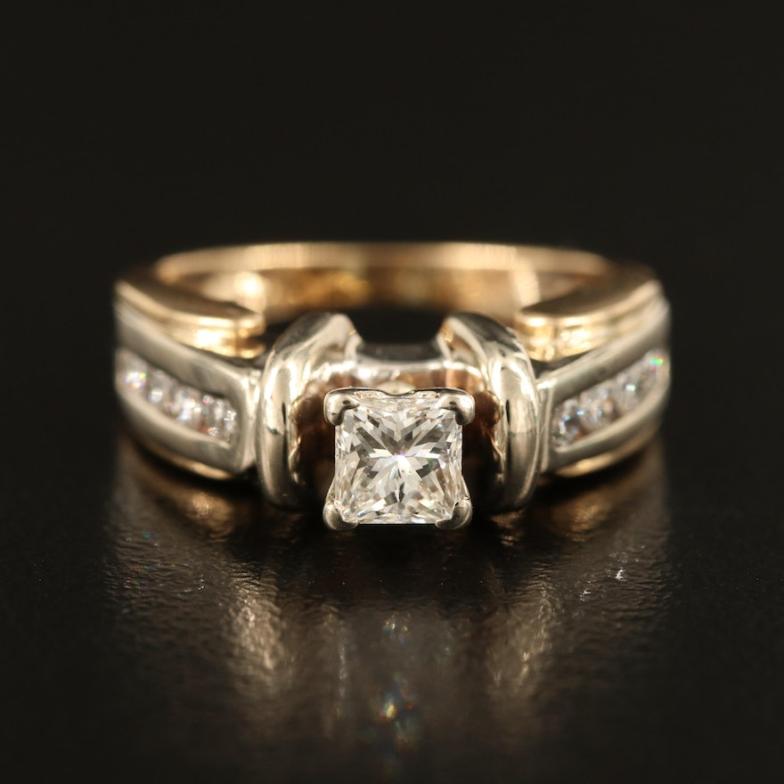 14K 0.40 CT Diamond Ring with 0.25 CTW Diamond Channel Shoulders