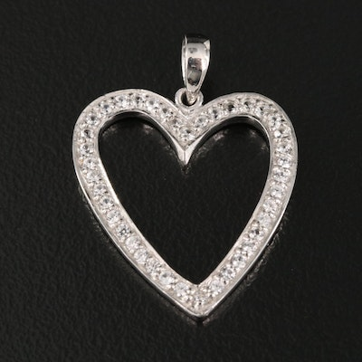 Sterling Silver and Zircon Open Heart Pendant