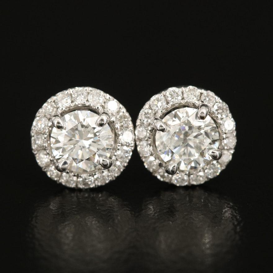 14K 1.00 CTW Diamond Stud Earrings with 0.27 CTW Diamond Halos