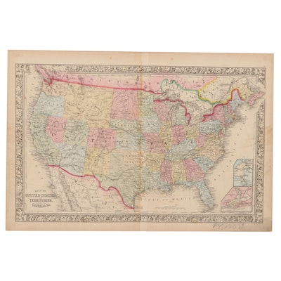 S. Augustus Mitchell Hand-Colored Engraving Map of United States and Territories