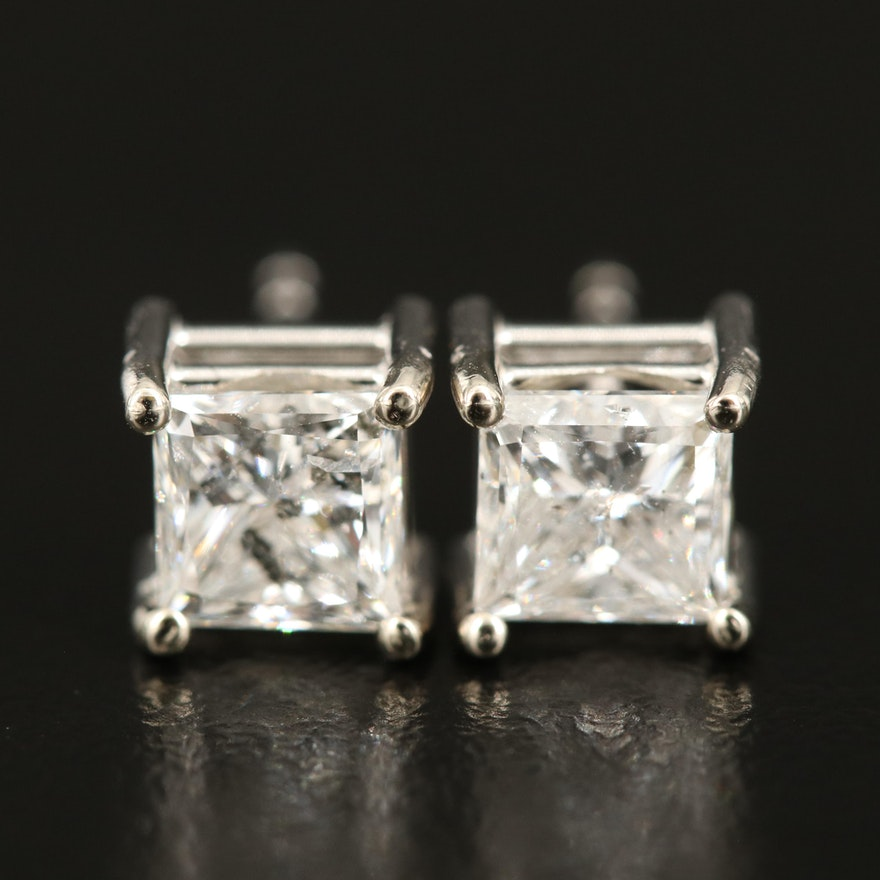 14K 2.04 CTW Princess Diamond Stud Earrings