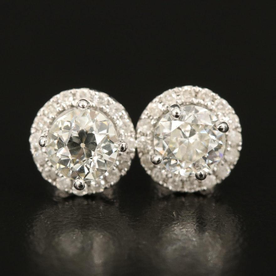 14K 1.51 CTW Diamond Stud Earrings with 0.28 CTW Halos
