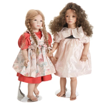 "Annette  Himstedt Porcelain Dolls ""Wanja"" and ""Isa Belita"" with COA"