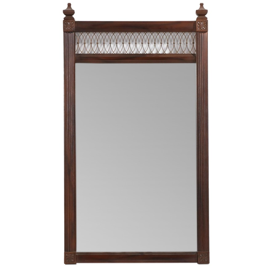 Rectangular Wooden Wall Mirror,  Late 20th Century