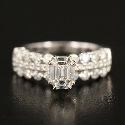 14K Diamond Ring with Triple Row Shoulders