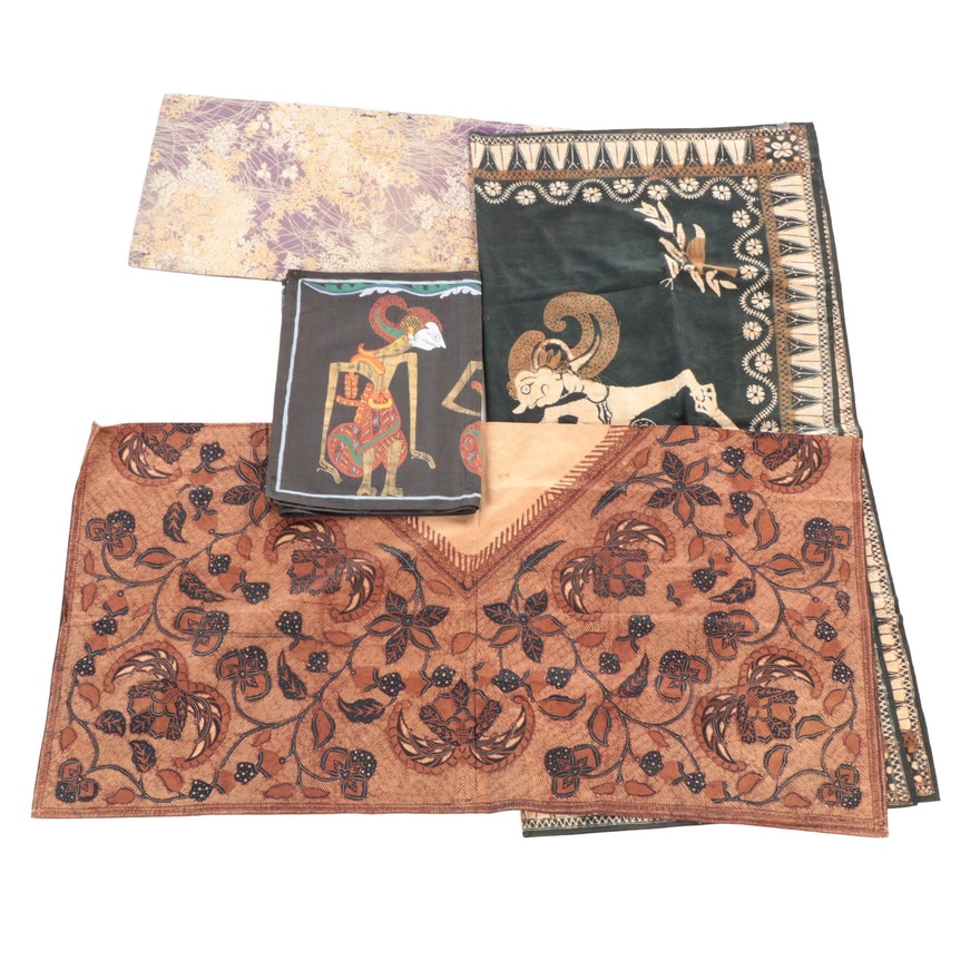 Southeast Asian Wayang and Floral Motif Batik and Painted Textile Panels