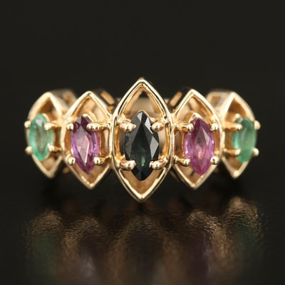 14K Sapphire, Pink Tourmaline and Emerald Openwork Ring