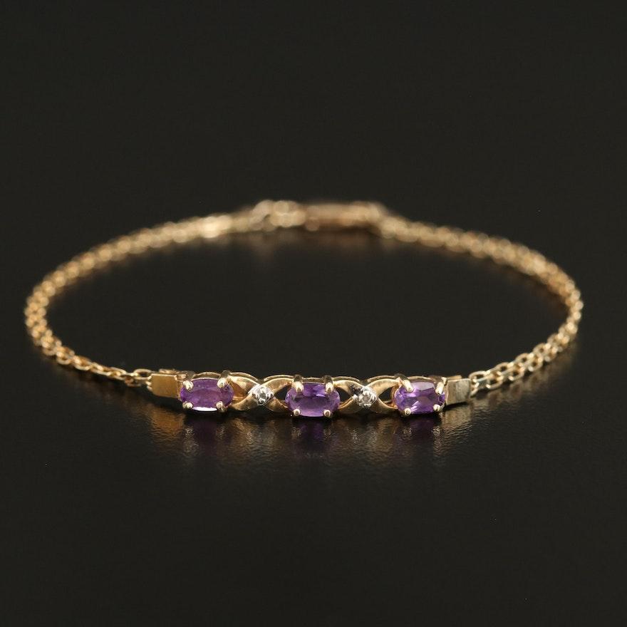 10K Amethyst and Diamond Bracelet