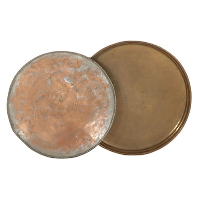 Middle Eastern Brass and Copper Platted Serving Platters