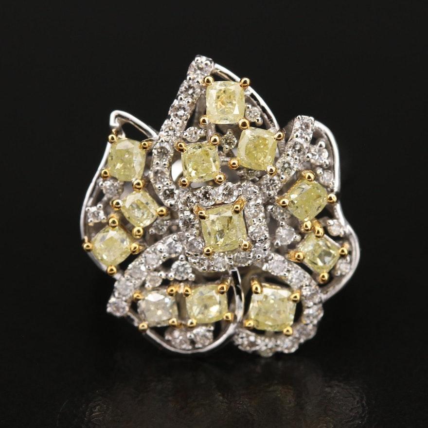 18K 2.34 CTW Diamond Floral Cluster Ring