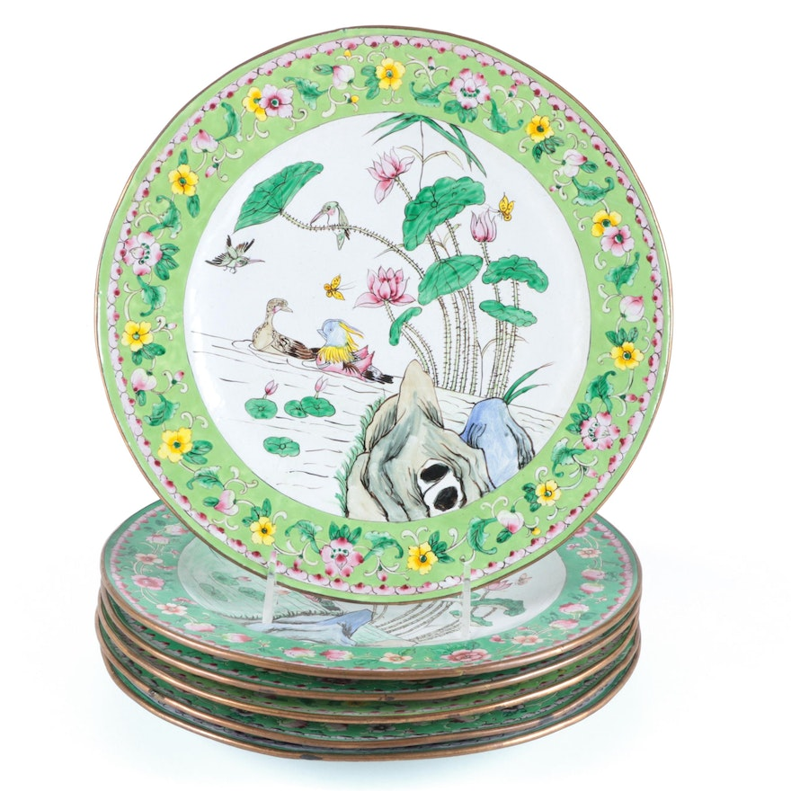 Chinese Famille Vert Hand-Painted Enamel on Copper Plates