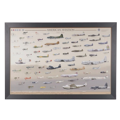 Offset Lithograph Illustration of American Aviation 1903 - 1945, 21st Century
