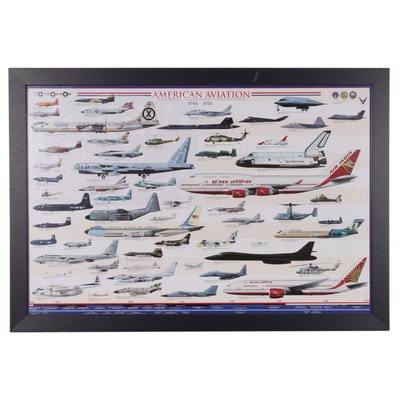Offset Lithograph Illustration of American Aviation 1946 - 2010, 21st Century