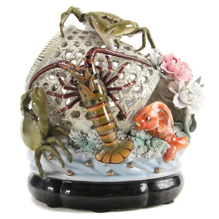 Japanese Majolica Style Crab Basket Porcelain Tableau
